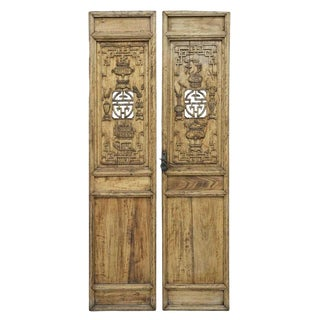 19th Century Antique Chinese Carved Architectural Wooden Doors-a Pair For Sale