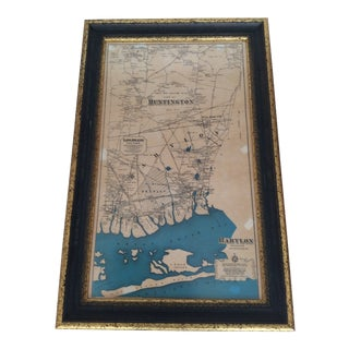 Framed Map of Long Island, NY For Sale
