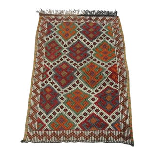 """Vintage Small Embroidered Kilim Rug - 2'8"""" x 4' For Sale"""
