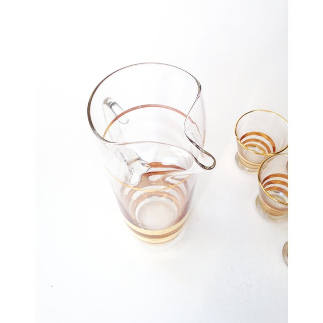 Mid-Century Gold Striped Pitcher & Six Glasses - Image 6 of 6