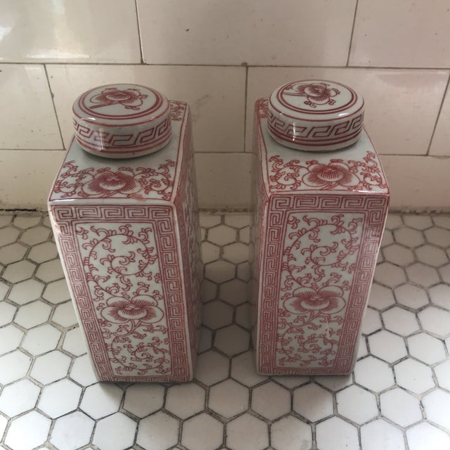 Chinese Chinoiserie Coral & White Porcelain Ginger Jars - a Pair For Sale - Image 10 of 11