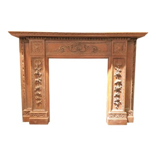 Antique English 19th Century Carved Wood Mantel with Carving in the Manner of Grinling Gibbons. For Sale