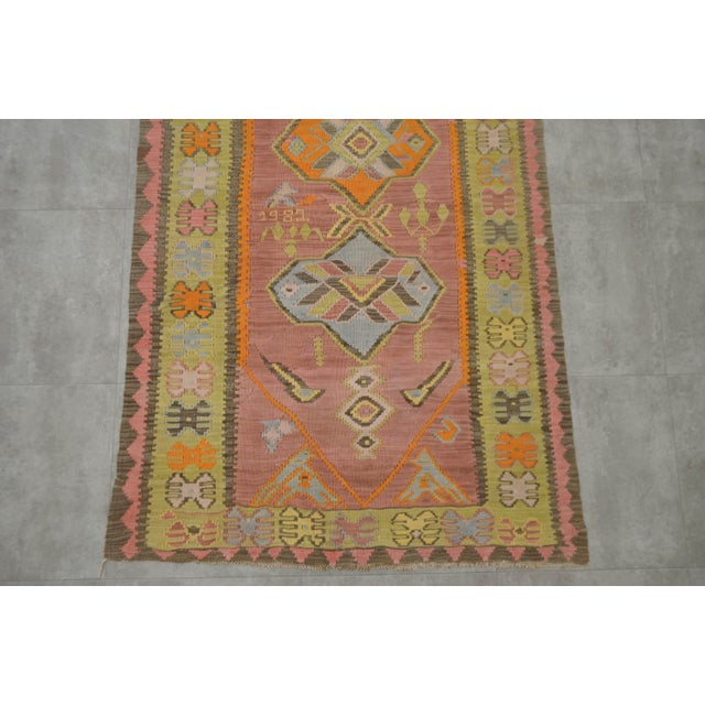 Cotton Turkish Hand Woven Shiny Tribal Runner Silk Rug - 3′10″ X 13′9″ For Sale - Image 7 of 10