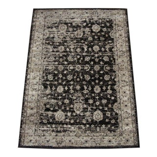 Transitional Distressed Brown Turkish Rug - 5'3''x 7'7''