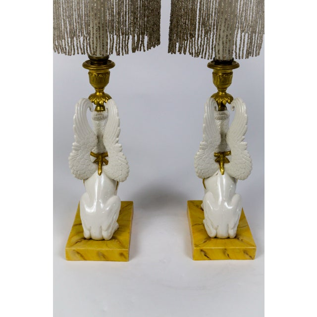 Italian Porcelain Griffin Push-Up Candlesticks With Beaded Shades (Pair) For Sale In San Francisco - Image 6 of 12