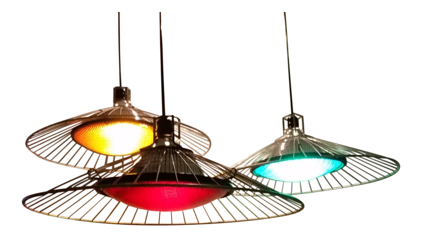 yellow pendant lighting. Upcycled Industrial Steampunk Pendant Lights With Wire Shades - Set Of 3 Yellow Lighting