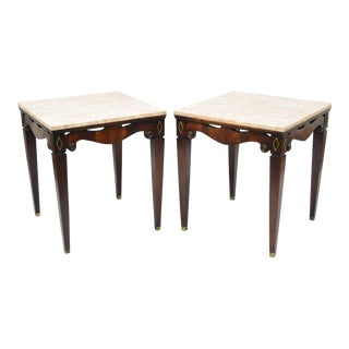 Pair of Antique Pink Marble Top Mahogany End Tables Regency Square Weiman Era For Sale