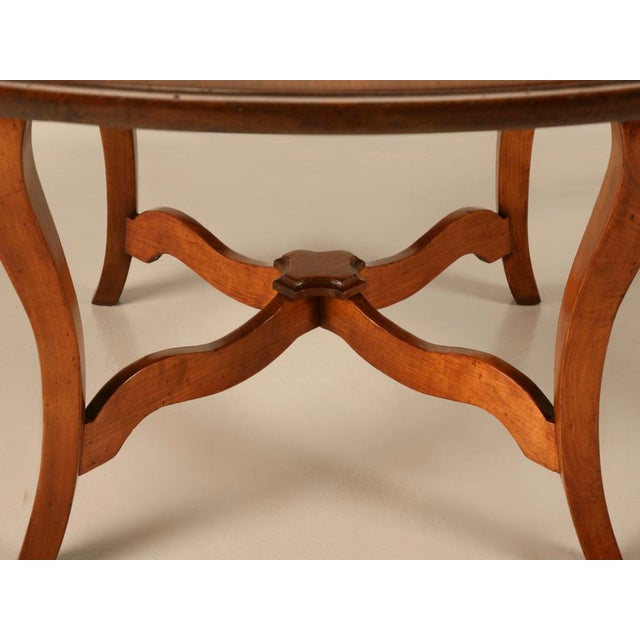 """Vintage English Hand-Crafted Solid Cherry 64"""" Round Dining Table For Sale In Chicago - Image 6 of 11"""