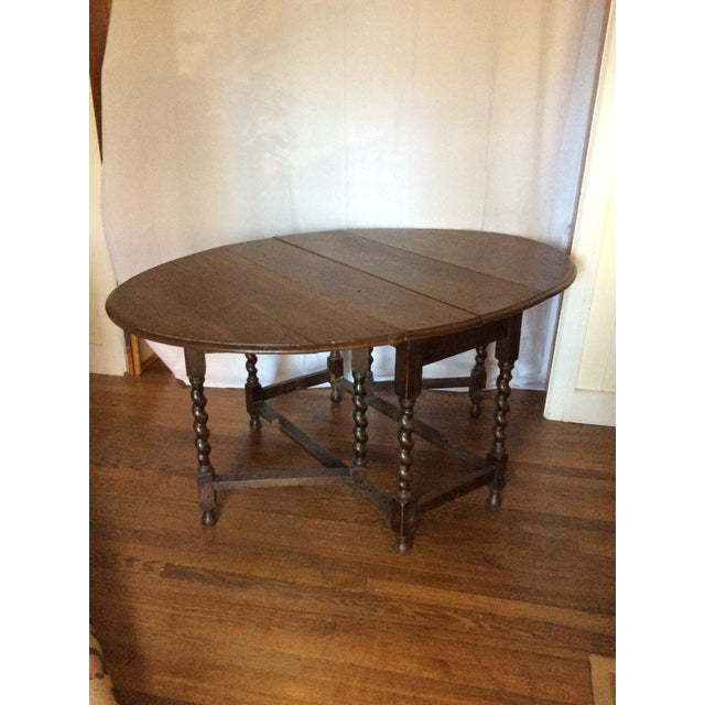 Chestnut Barley Twist Leg, Drop Leaf Oval Dark Oak Dining Table For Sale - Image 8 of 13