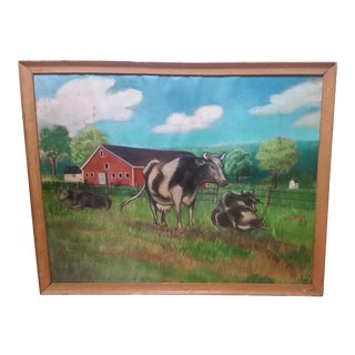 "1960s ""Cows on a Farm"" Framed Pastel Painting For Sale"
