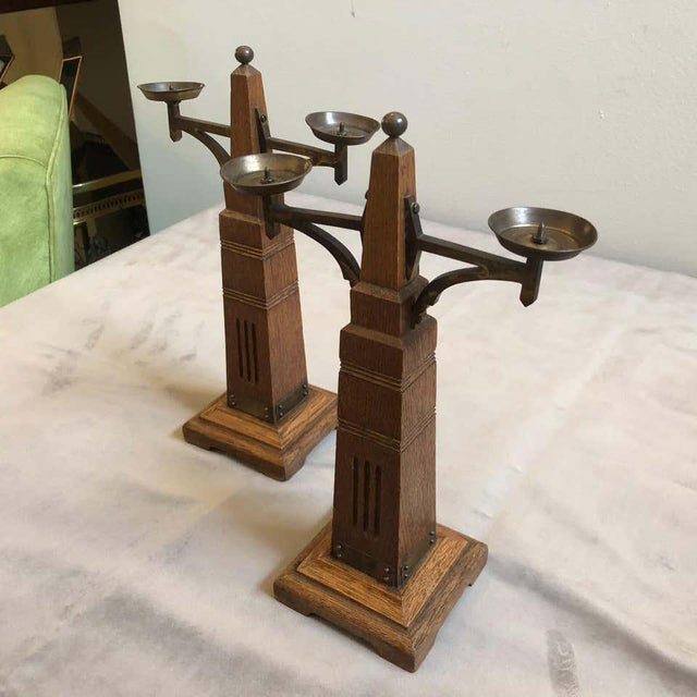 Brown 1900s Dutch Secessionist Oakwood and Brass Candelabras - Set of Two For Sale - Image 8 of 13