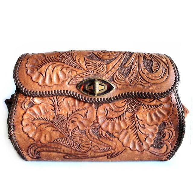 Vintage Hand Tooled Leather Floral Boho Bag For Sale