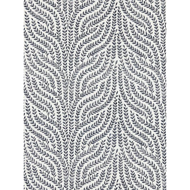Transitional Scalamandre Willow Vine Embroidery, Navy Fabric For Sale - Image 3 of 3