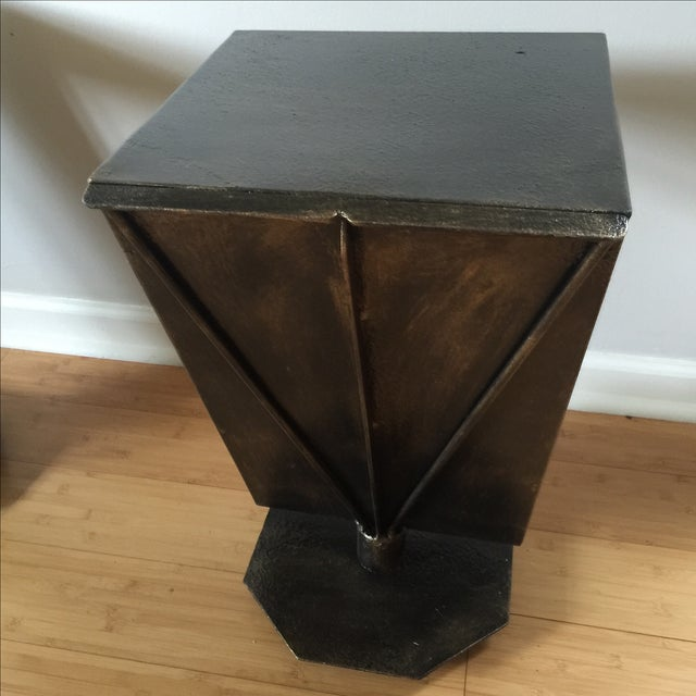 Art Deco Artist Bronze Patina Side Tables - A Pair - Image 5 of 7