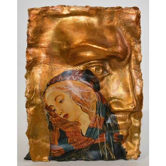 Gothic Botticelli Madonna of the Magnificat Face Mold Gold Papier-Mâché Hanging Art For Sale - Image 4 of 5