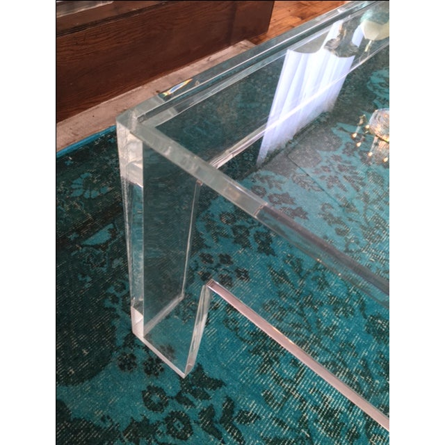 1970s Parson-Style Lucite Coffee Table - Image 4 of 5