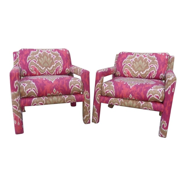 Pair of 1970's Parsons Chairs Covered in Ikat Fabric For Sale