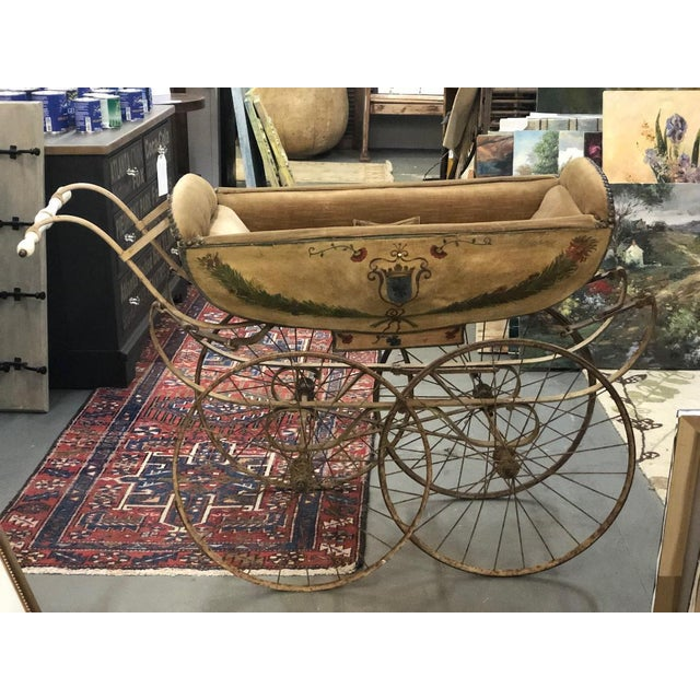 19th Century Continental Wood and Canvas Perambulator For Sale - Image 10 of 10