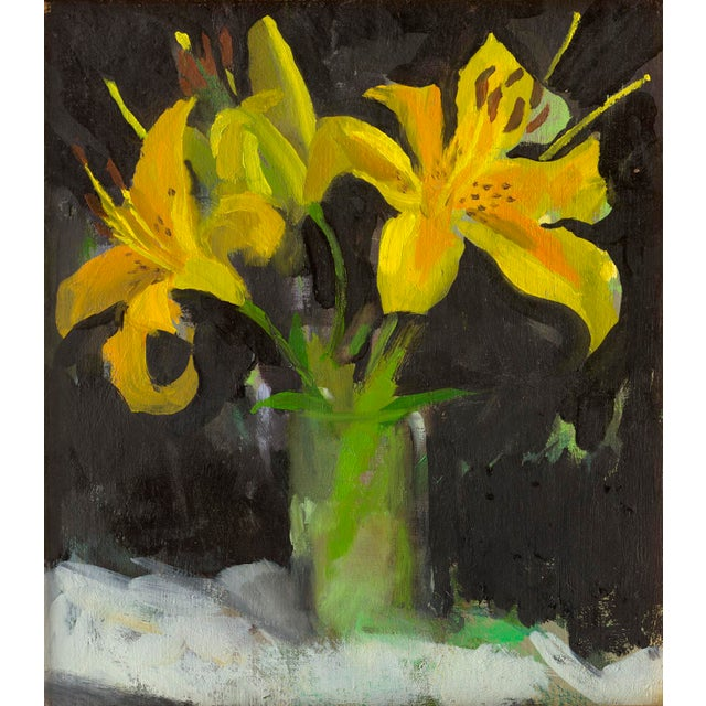 Impressionist Painting of Three Yellow Lilies by Amy Griffith Colley For Sale