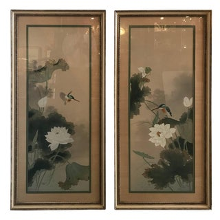Japanese Paintings on Silk - a Pair For Sale