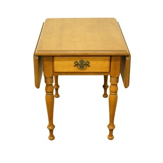 20th Century Early American Ethan Allen Heirloom Nutmeg Maple Drop-Leaf End Table For Sale