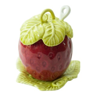 Majolica Strawberry and Leaf Jam Jar Sugar Bowl For Sale