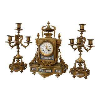 19th Century Clock Garniture Set - Set of 3 For Sale