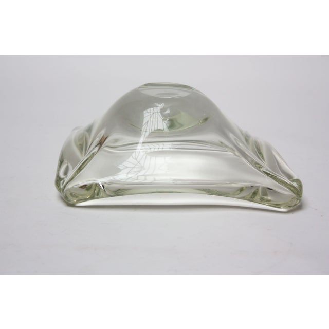Mid-Century Modern Mid-Century Modern Blown-Glass Ashtray / Decorative Dish in Pale Green For Sale - Image 3 of 7