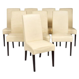 Italian Leather Dining Chairs - Set of 8 For Sale