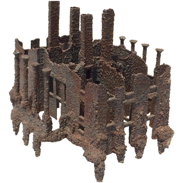 Iron Torch-Cut Brutalist Sculpture Coffee Table - Image 1 of 9