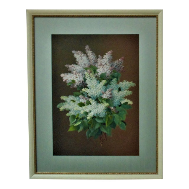 Late 19th Century Antique Raoul Maucherat De Longpre French Victorian Lilacs Gouache Signed Painting For Sale