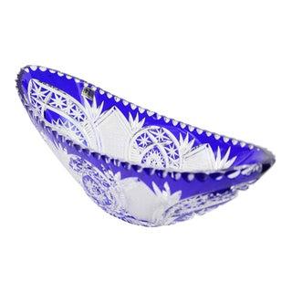 Bleikristal Crystal Cobalt Blue Cut to Clear Oval Bowl For Sale