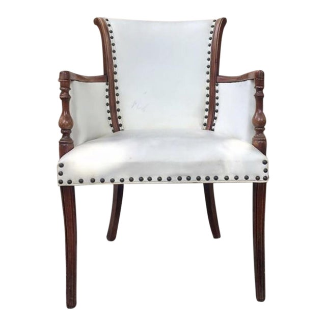 Vintage White Leather Chair For Sale