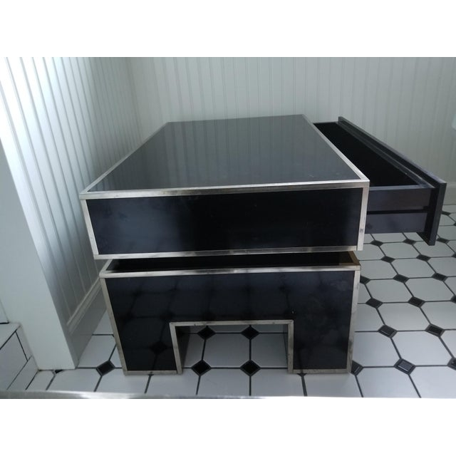 Chrome Trimmed Lacquered Side Tables - A Pair - Image 4 of 7
