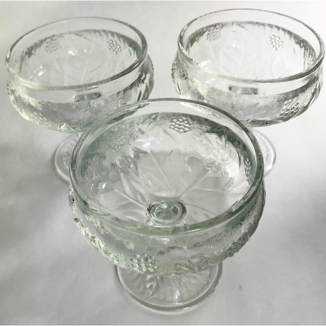 Vintage French Pressed Glass Coupe Champagne/Sorbet Glasses-Set of Three For Sale - Image 4 of 7