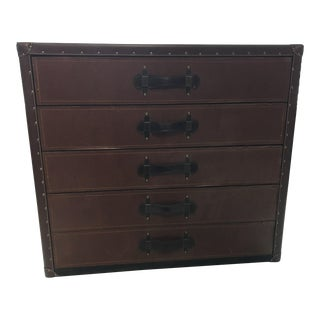 Made Goods Leather 5 Drawer Chest For Sale