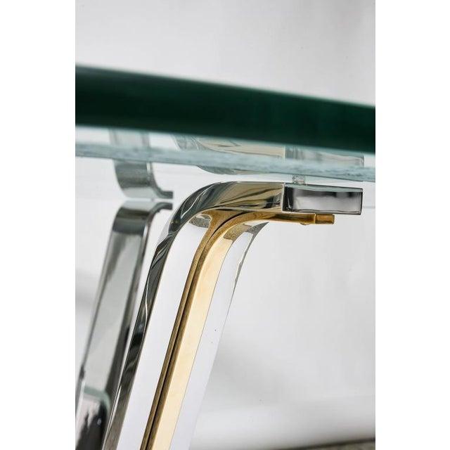Art Deco Style Round Dining or Center Table, Chrome & Brass, Karl Springer - Image 2 of 11