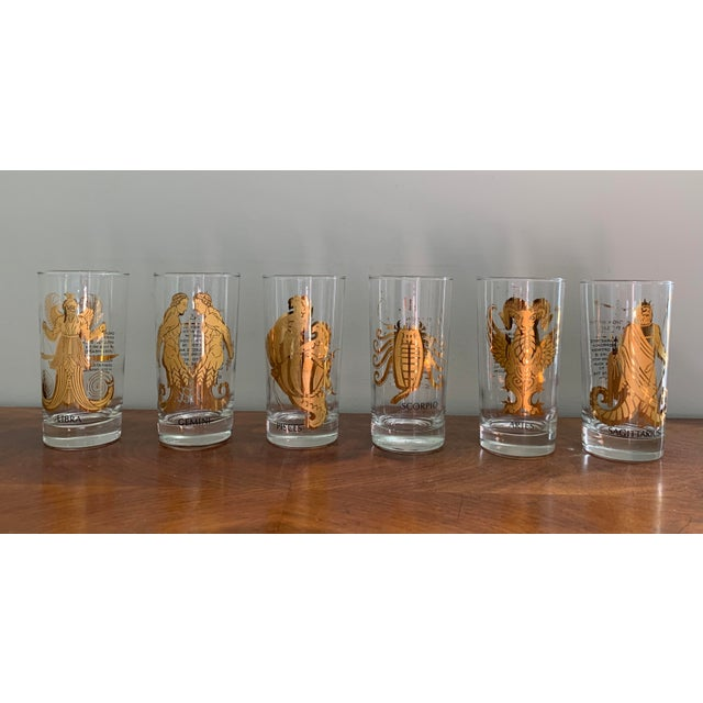 Vintage Zodiac Tall Glasses - Set of 6 For Sale - Image 10 of 10