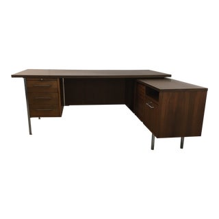 1970s Walnut Executive Desk and Return Credenza by Jofco Jasper For Sale