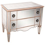 Image of Mirrored Louis XVI Hollywood-Regency Style Two-Drawer Chest For Sale