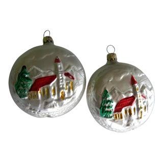 1950's German Christmas Ornaments Lollipop Church - a Pair For Sale