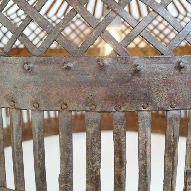 Industrial Iron Basket Cage Lantern For Sale - Image 4 of 6