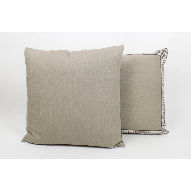 Hollywood Regency Charcoal and Slate Linen Greek Key Pillows, Pair For Sale - Image 3 of 6
