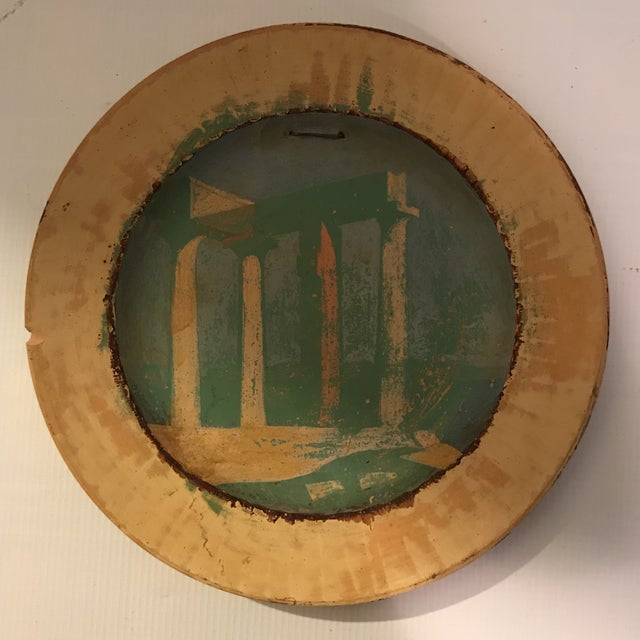 Ceramic Painted Roman Temple Plate For Sale - Image 7 of 7