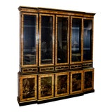 Image of Vintage Drexel Five Door Chinoiserie & Burl Two Piece China Cabinet For Sale