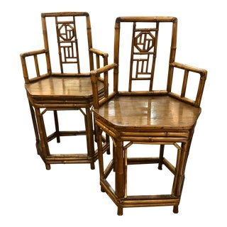 1970s Bamboo Chairs - a Pair For Sale