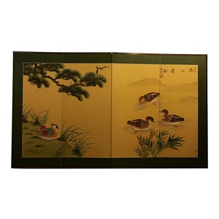 Signed Asian-style Duck Art Screen For Sale