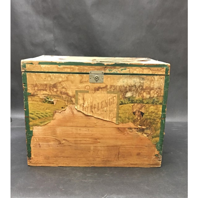 Fabulous vintage tin lined tea crate by Challenge Brand tea. This early 1900's box has some loss of the decorative...