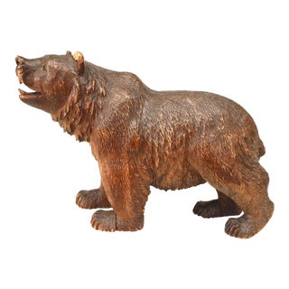 19th Century Continental Black Forest Style Carved Bear For Sale