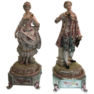 Large Dresden Aristocratic Couple Figures - a Pair For Sale